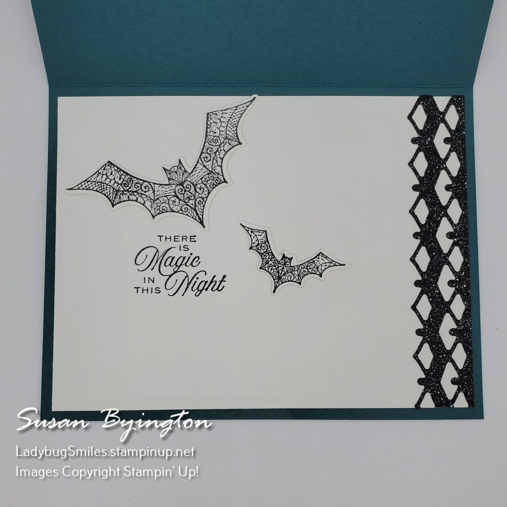 inside of Halloween card made the Hallows Night Magic stamp set by Stampin' Up!